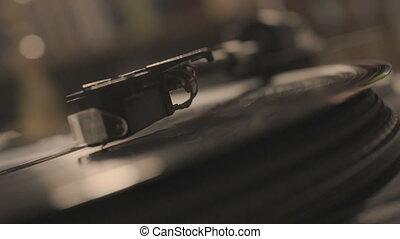 aiguille, jouer, vinyle, joueur, stylus, tomber,...