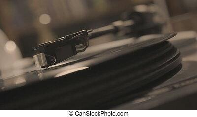 aiguille, jouer, vinyle, joueur, stylus, tomber, enregistrement
