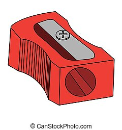 aiguisoir, illustration, isolé, vecteur, pencil., dessin animé, rouges, stockage