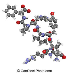 (aii), péptido, angiotensin, hormona, ii, químico, estructura