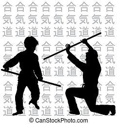 aikido, beoefenen, kinderen