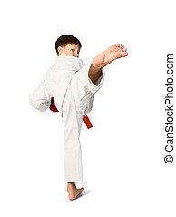 aikido boy - A young boy aikido fighter in white kimono