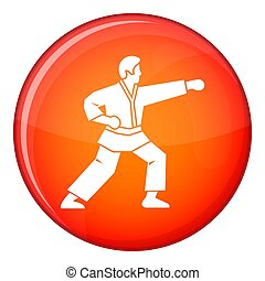 Aikido fighter icon, flat style