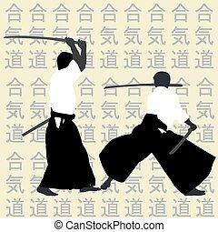 aikido, siluetas, hombres