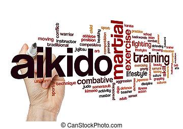 aikido, woord, wolk, concept