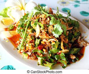 ailé, nourriture, salade haricot, thaïlande