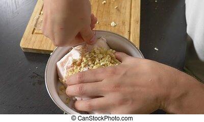 ail, émaillé, saindoux, salt., fat., processus, porc, bol,...