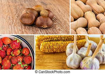 ail, citrouille, fruits, assorti, châtaigne, fraises, maïs, légumes, fond
