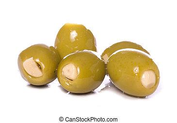 ail, olives, vert, coupure, bourré