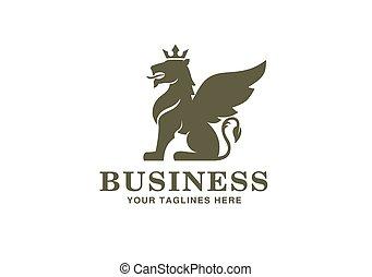 aile, couronne, logo, héraldique, lion, séance