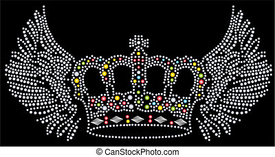 aile, et, couronne, perlé, typon