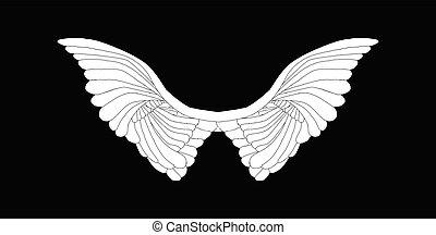 ailes, ange blanc, diffusion, noir