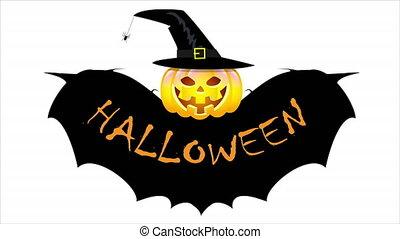 ailes, chapeau, sorcière, chauve-souris, halloween, citrouille