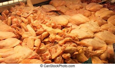 ailes, entrailles, carcasse, estomacs, abats, nombre, grand, poulet, parties, jambes, cœurs, livers, autre