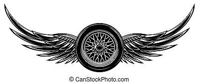 ailes, illustration, monochrome, vecteur, roue