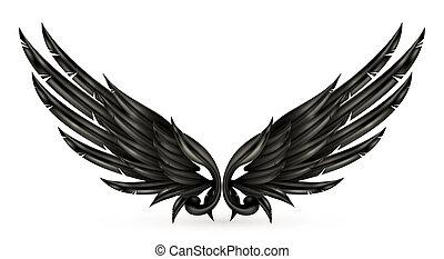 ailes, noir, eps10