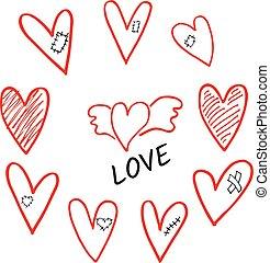 ailes, plâtre, ensemble, main, ombragé, vecteur, dessiné, cœurs, pièce, cicatrice, whis