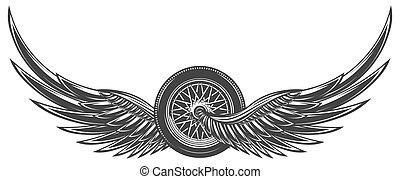 ailes, vecteur, roue, illustration, monochrome