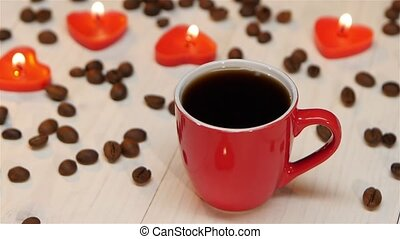 aimé, café, fait, lueur bougie, tasse, une