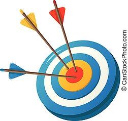 Aim arrow icon, cartoon style