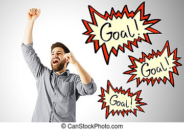 Aim concept - Excited young man celebrating success on white...