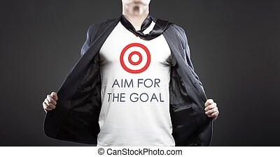 Aim for business goal, young businessman