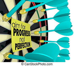 Aim for Progress Not Perfection Dart Board Improvement - Aim...