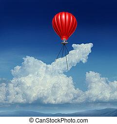 Aim High - Aim high business success concept as a red hot...