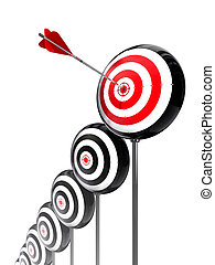 aim higher targets row on white background. clipping path...