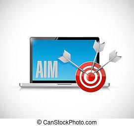 aim laptop target illustration design