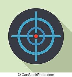 Aim scope target icon, flat style
