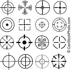 aim target vector icons set in black.