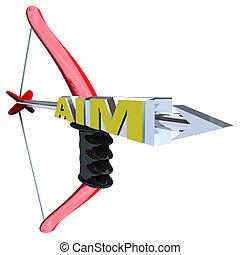 Aim - Word on Bow and Arrow - An arrow with the word Aim,...