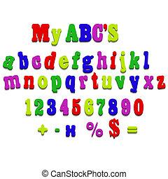 aimant, alphabet, orthographe, lettres, frigidaire