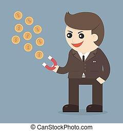 aimant, homme affaires, rouges, argent