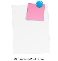 aimant, notes, papier, blanc