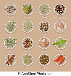 aimer, assaisonnement, graines, plaques, ou, racines, épice