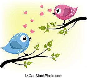 aimer, branches, deux oiseaux