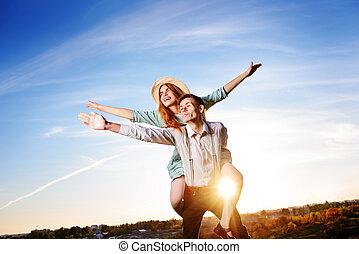 aimer, ciel, jeune, gai, ferrouter, fond, petite amie, type, avion