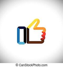 aimer, coloré, symbole, -, haut, main, vecteur, pouces, icône
