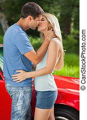 aimer couple, baisers, passionately