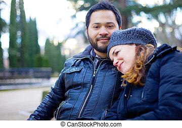 aimer couple, banc, parc, séance