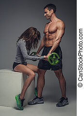 aimer couple, studio., poser, fitness