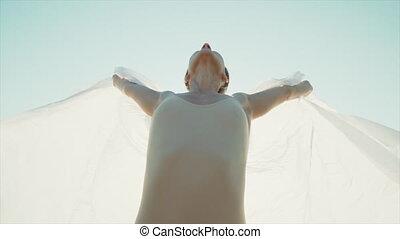 aimer, flexible, flottements, stands, motion., -, concept., wind., wings., nature, rocher, lent, tissu soie, femme, ouvre, liberté, danseur, rabat, beau, tissu