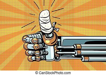 aimer, haut, robot, geste, main bandée, pouce