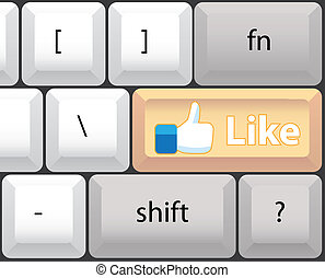 aimer, -, illustration, clef informatique, clavier