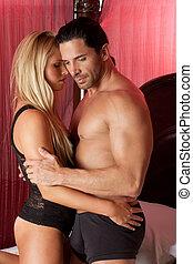 aimer, jeune, nue, érotique, sensuelles, couples dans lit