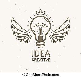 aimer, nouveau, start., démarrage, lumière, vecteur, ailes, idée, linéaire, business, logo, lightbulb, invention, science, créatif, ou, lancement, recherche, fusée, icône, ampoule