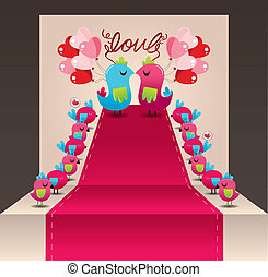 aimer oiseau, carte, mariage