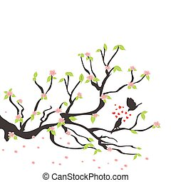aimer, oiseaux, sur, les, printemps, prunier